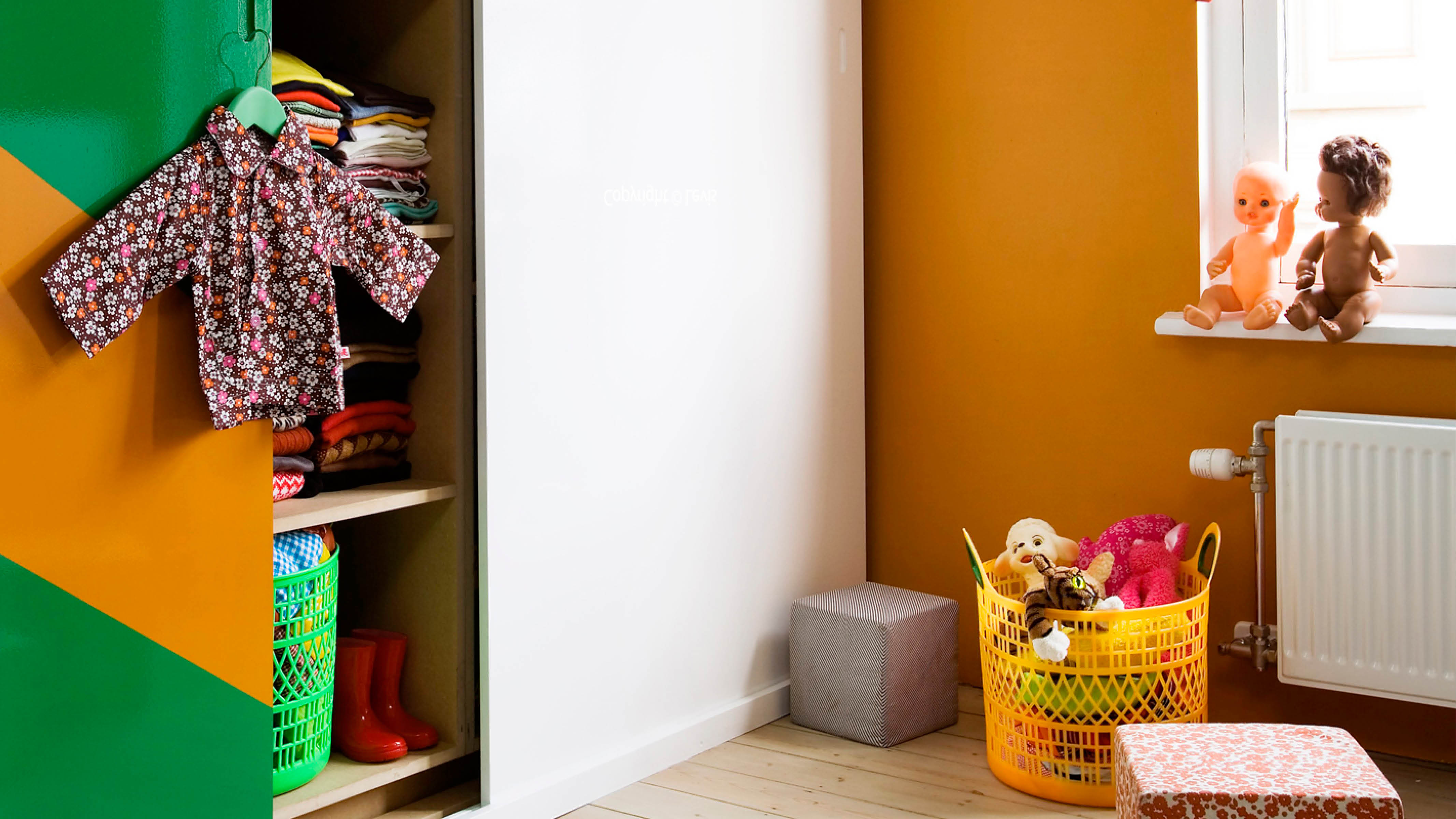 For a unified look, paint the shelves and cupboards to match the colour of your little one's cosy corner. Choose a hard-wearing, wipeable paint if possible that will make light work of unexpected spillages.