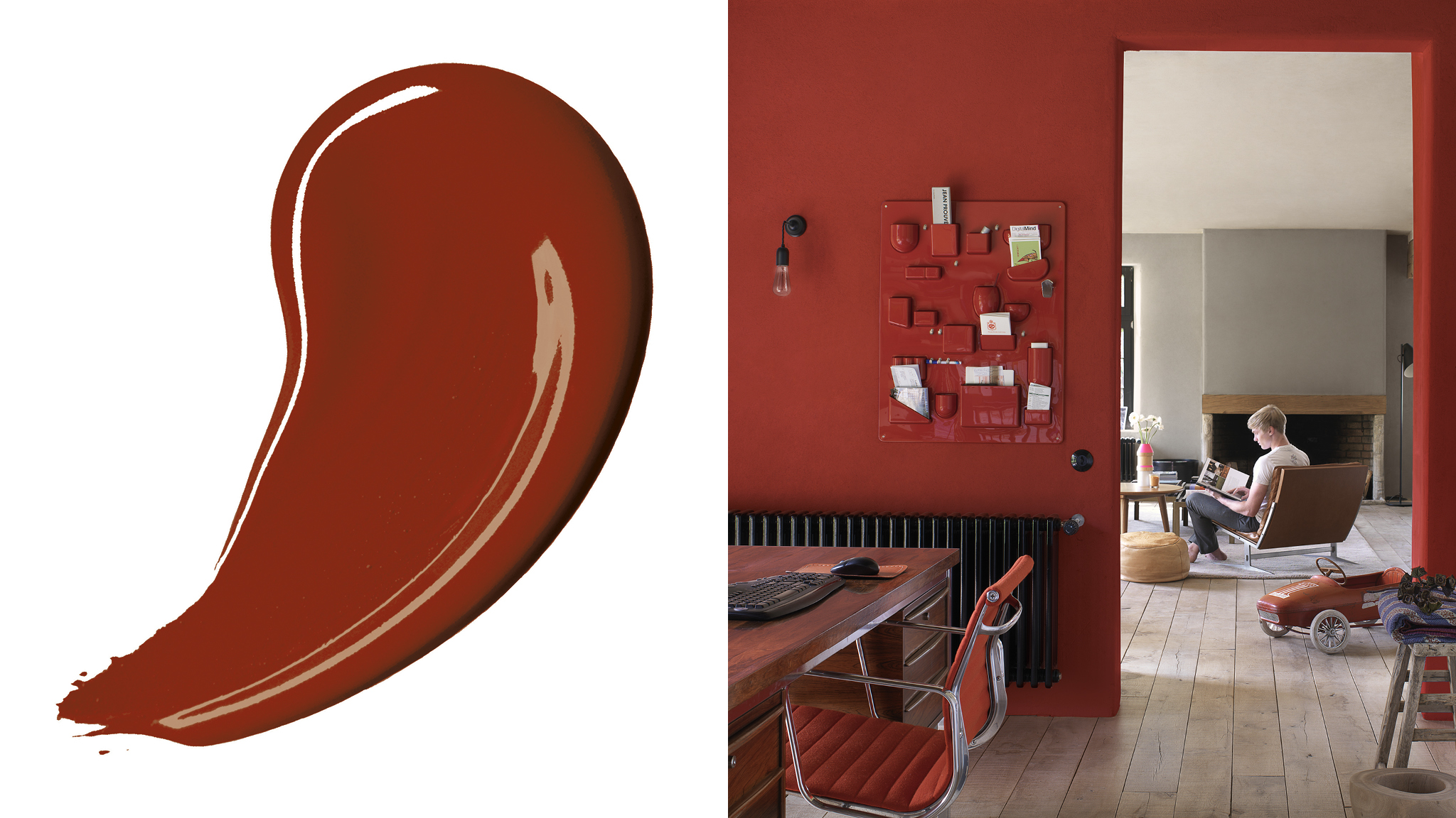 Choosing a darker colour scheme is a great way to make a room feel instantly more cosy and intimate. Rich, deep reds or chocolatey shades tend to pull walls closer towards you.