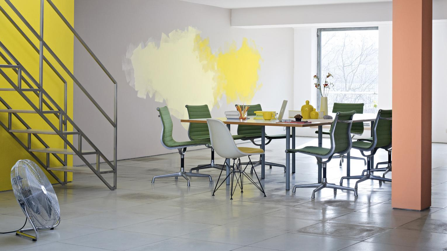 Create an energising environment with bright colours blended together using the ombre effect.