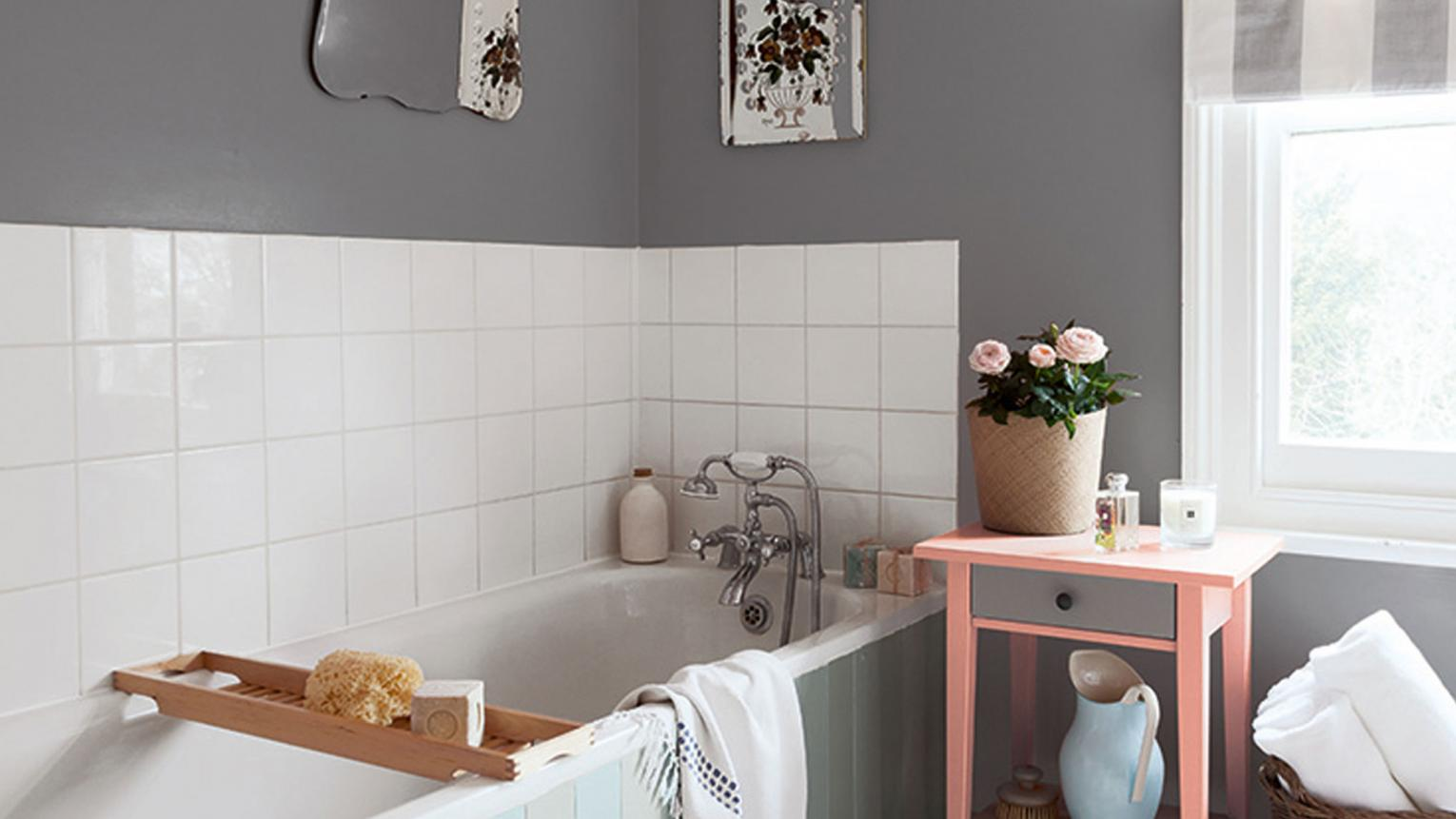 Turn your bathroom into a tranquil oasis with a warm grey colour scheme palette that exudes serenity.