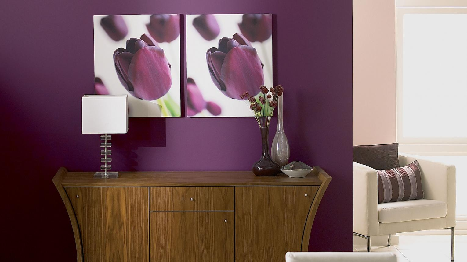 Mulberry is a rich purple that adds vibrancy to any space. Pair with dusky lilac and crisp white for an opulent look.