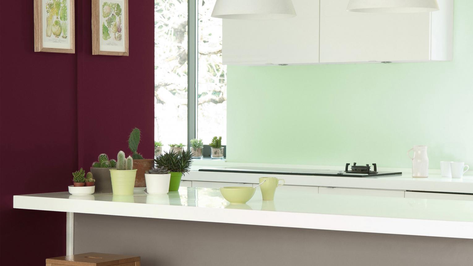 Decorate your kitchen in shades of burgundy and mint for a refreshing update on a classic colour scheme.