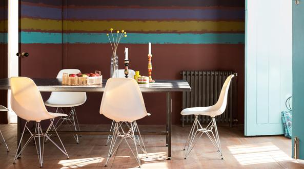 Painting stripes in varying sizes and colours is an easy way to transform your space.