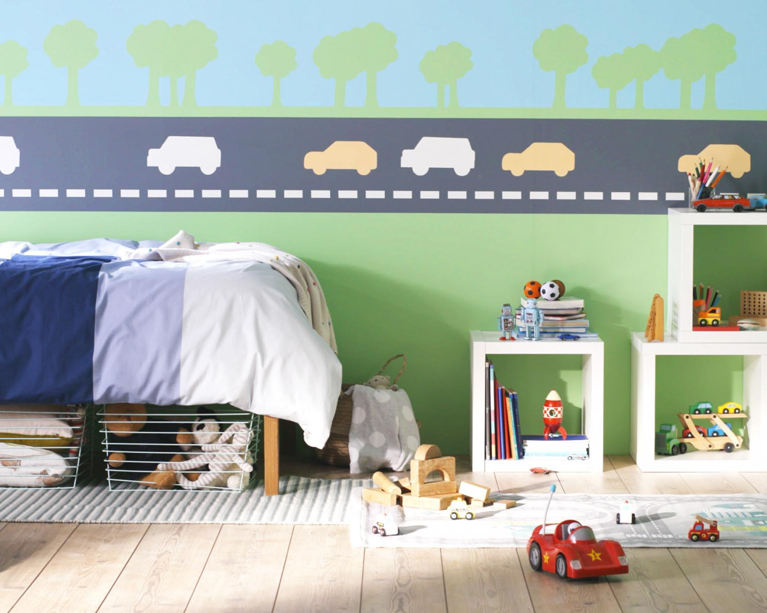 Create a car-themed bedroom for your boy with stripes and stencils