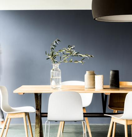 If you're worried black and white will look too harsh in your new home, why not try softening the look using similar, more versatile, colour pairings?