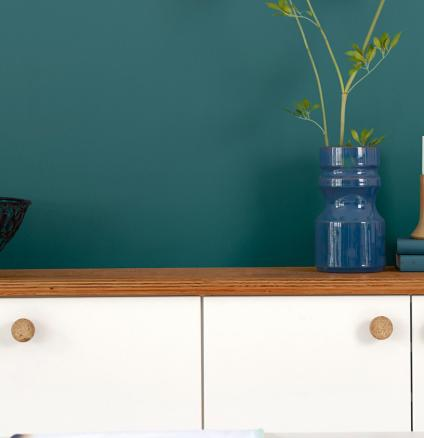 White kitchen? For an easy update, why not create a dramatic feature wall with majestic teal.