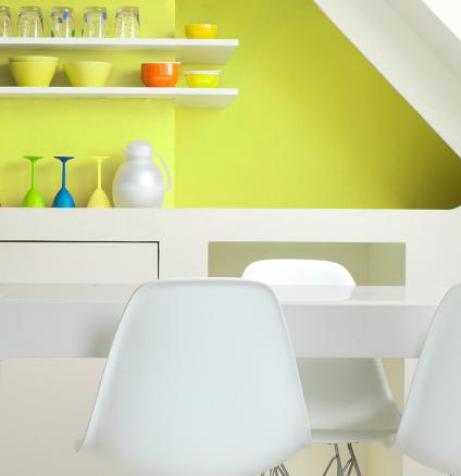 Halfway between lemon yellow and lime green, chartreuse is a happy hue that looks fabulous when used alone or paired with neutrals.