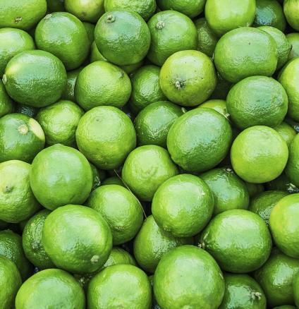 Limes of different sizes and colours